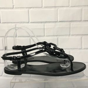 Burberry Patent Leather Chain Link Flat Sandals 39